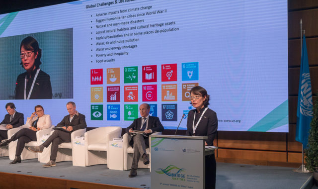 """Image of Dr Wei Yang delivered a keynote speech at UNIDO """"BRIDGE for Cities"""" conference in Vienna"""