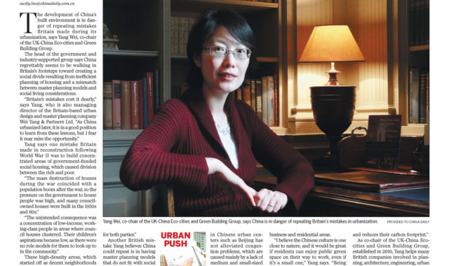 Image of Dr Wei Yang was interviewed on China Daily's 8 part series on China's Urbanisation