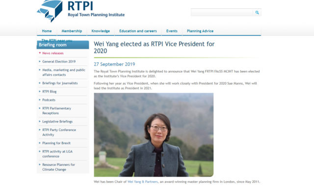 Image of Dr Wei Yang, Founding Director elected as RTPI Vice President for 2020