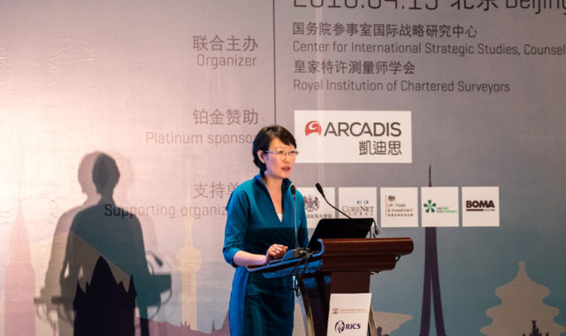 Image of Dr Wei Yang gives a keynote speech at RICS Urban Development International Conference